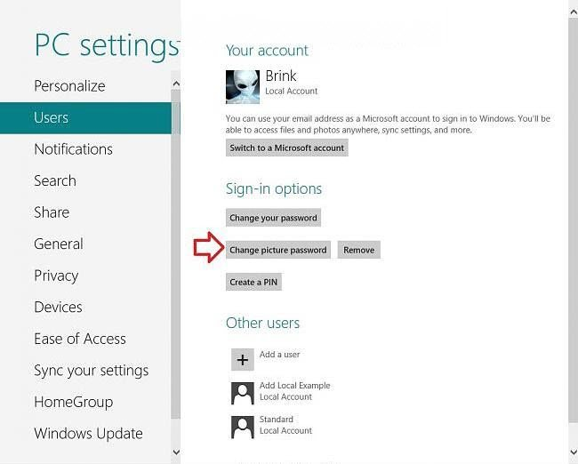 recover picture password windows 8