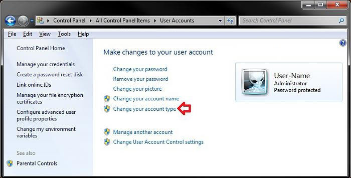 change a user account type in windows 7