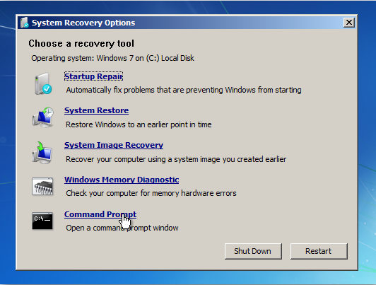 hack windows 7 password without disk