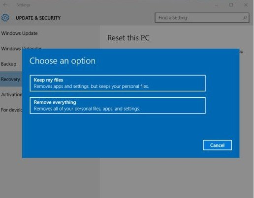 how to restore your computer to factory settings windows 10