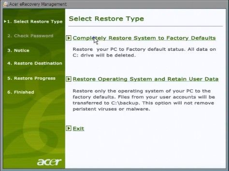 enter acer recovery partition to reset pc