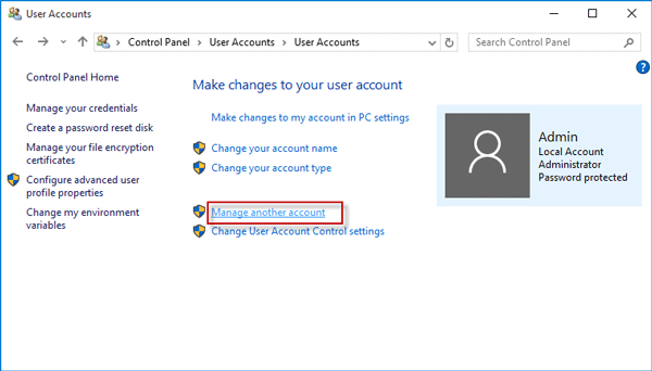 change local password by admin