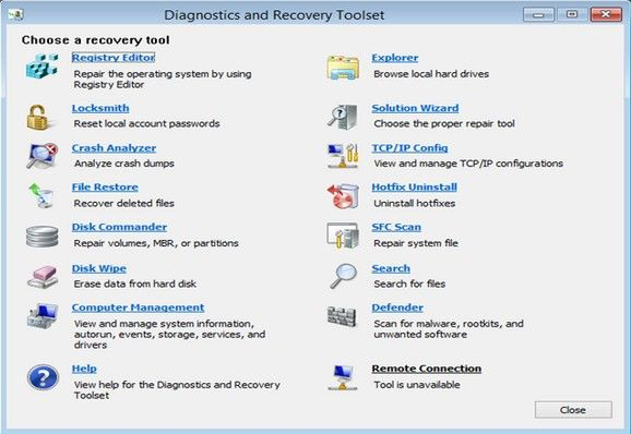 use a bootable diagnostics and recovery toolset