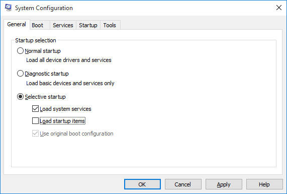 uncheck load startup items