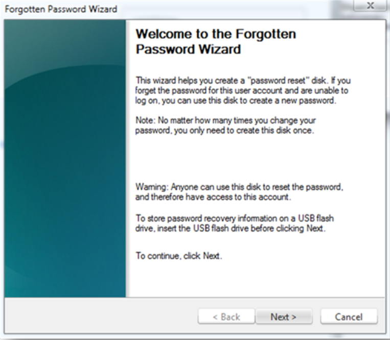 windows 7 password reset usb