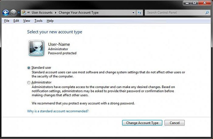 change account type from administrator to standard for windows 7
