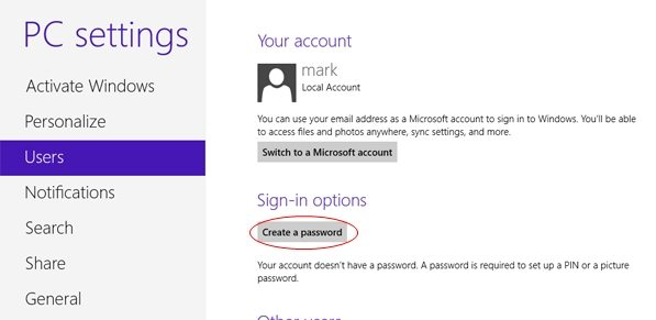 password protect windows 8