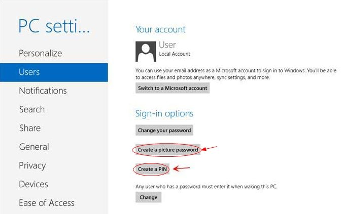 create password for windows 8
