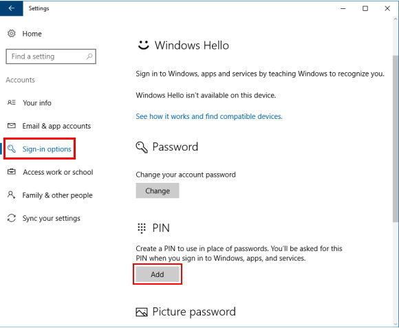 create a complex windows 10 pin