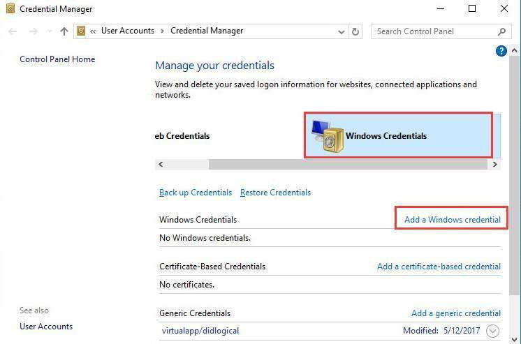 add a windows 10 credential to connect pc