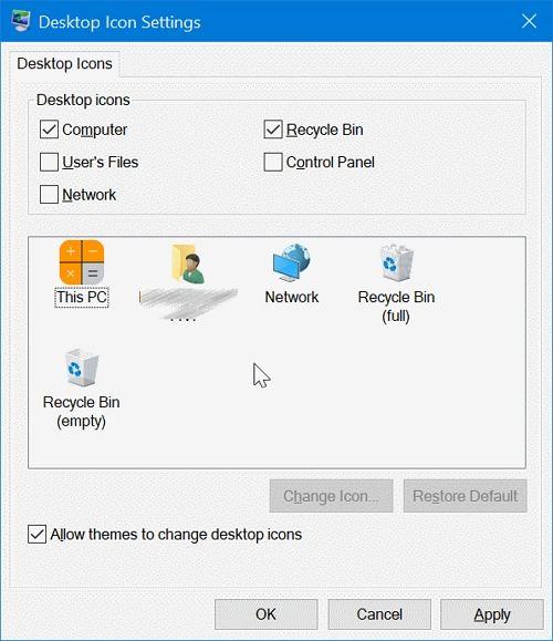 change desktop icon in Windows 10
