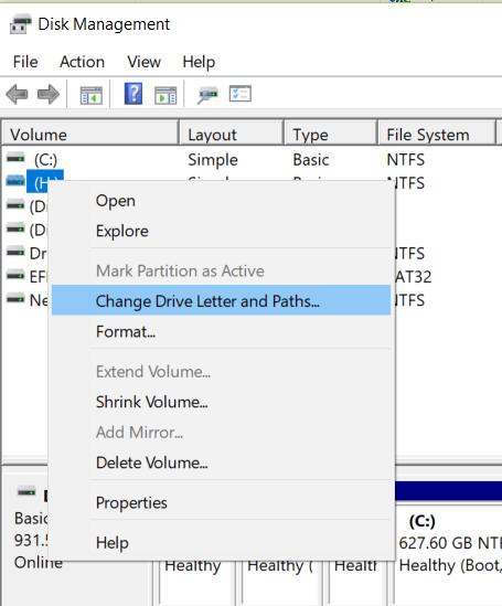 change drive letter paths