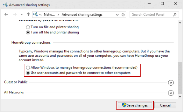 change windows 10 homegroup connections
