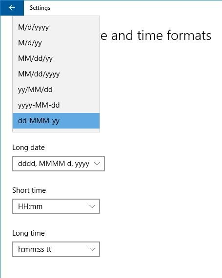 change time date formats settings