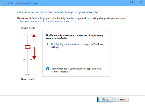 change user account control settings in windows 10