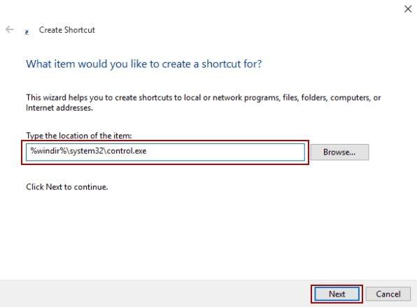 create control panel shortcut windows 10