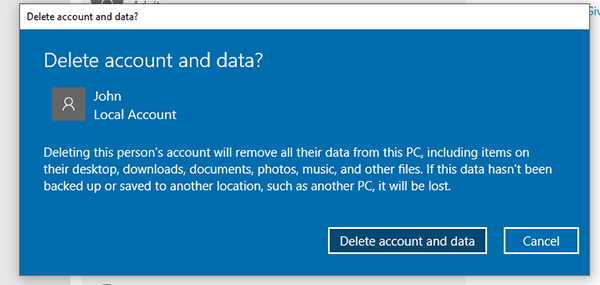 delete account data