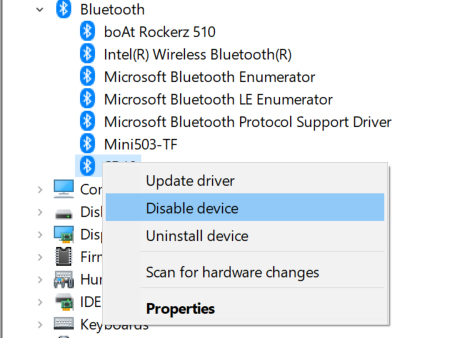 disable device
