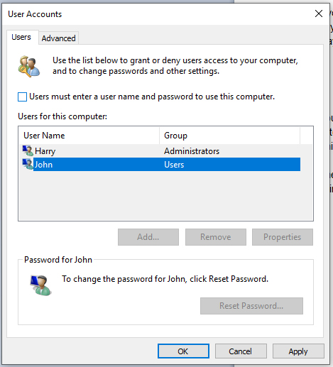 disable password prompt