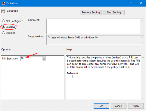 enable pin expiration in windows 10