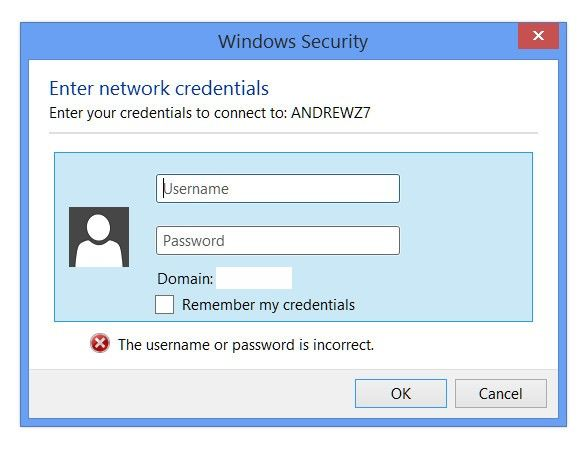 enter network credentials error on windows 10