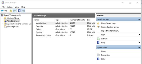 event viewer interface