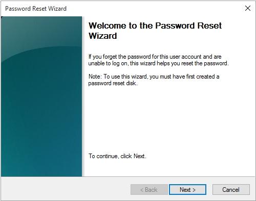 forgotten password window
