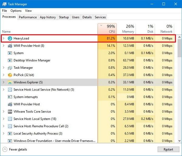 high resource process task manager