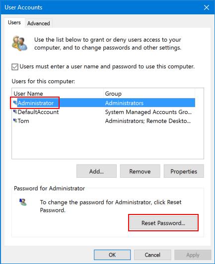 netplwiz reset password