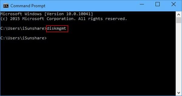 open disk management via command