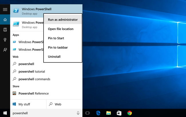 open powershell on windows 10
