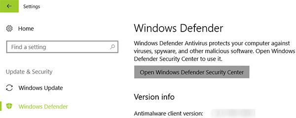 open windows defender security center