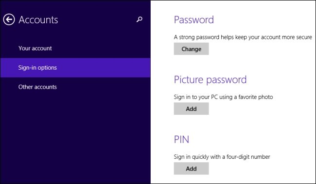 picture password and pin