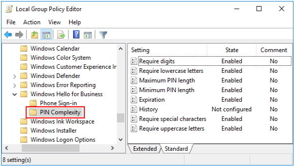 set up pin complexity group policy in windows 10