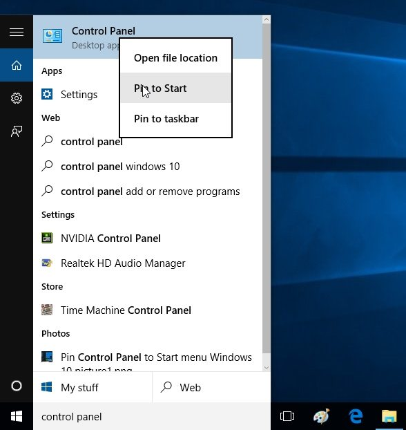 pin control panel to start menu