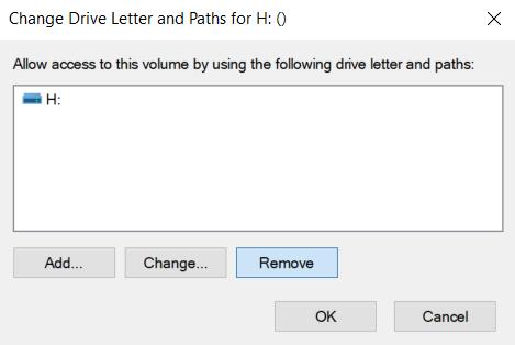 remove drive letter