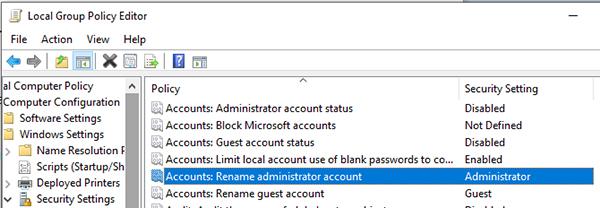 rename admin account