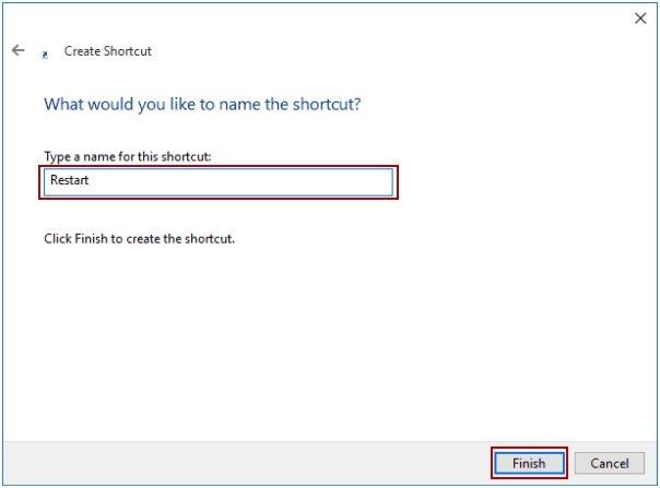 restart shortcut name
