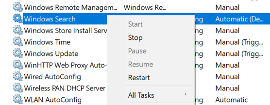 restart windows search