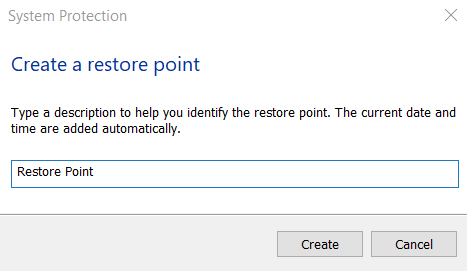 restore point creation