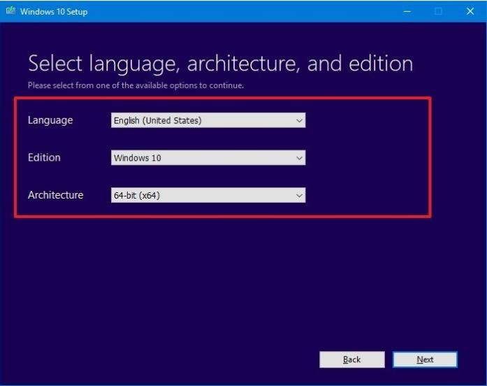 select language