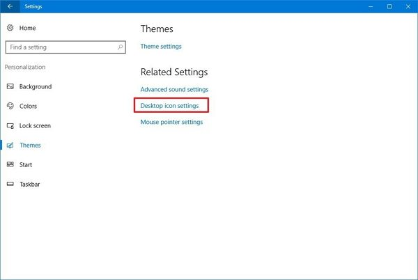 settings desktop icon settings