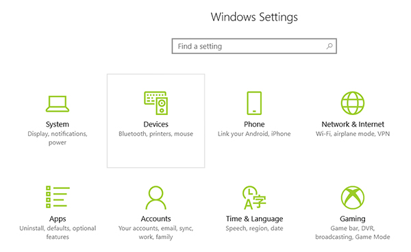 settings devices