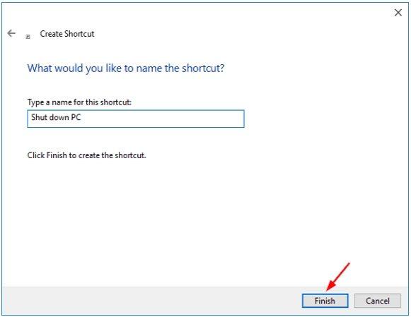 shutdown shortcut name