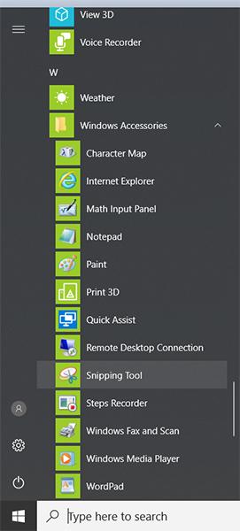 snipping tool start menu