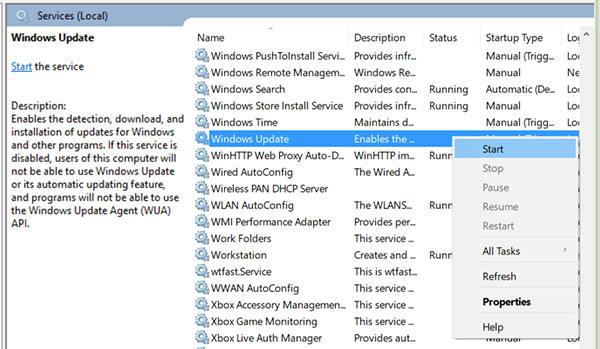 start windows update