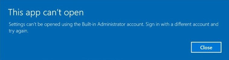 windows 10 administrator account cannot open apps