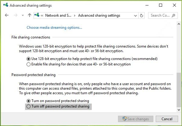 disable password protected sharing on win 10