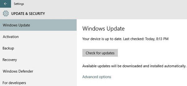 updating and settings win 10