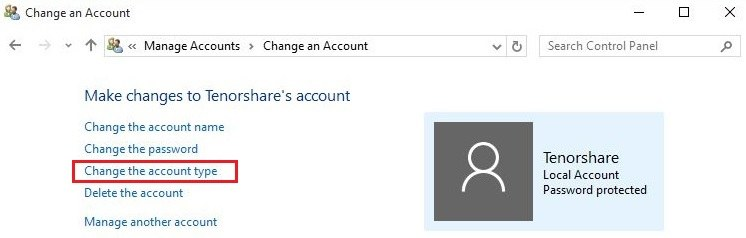 Windows 10 change an account